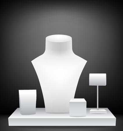 Manekiny dla jewelries. Wyświetlanie butiku jubilerskim Ilustracje wektorowe
