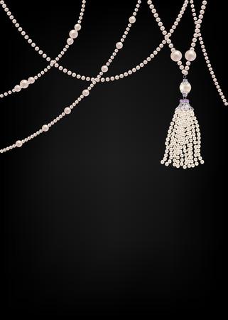 perlas: Tarjeta de joyería con collares de perlas en el fondo negro