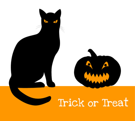 tratar: Treak ou travessura da abóbora de Halloween e gato preto