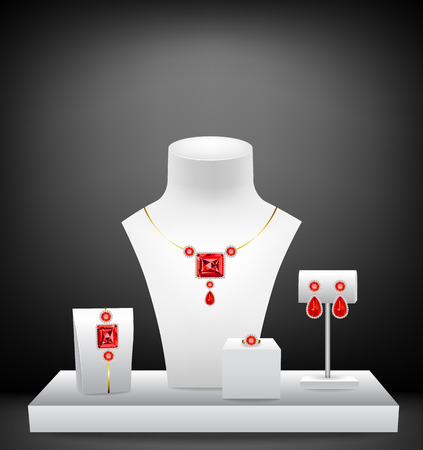 boutique display: Mannequins for jewelries. Display of a jewellery boutique