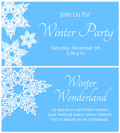 winter party: Christmas greeting or winter party invitation card with snowflakes Vettoriali