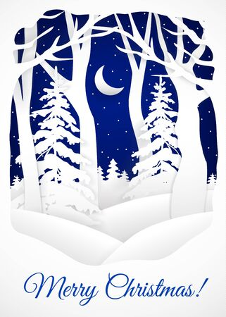Winter card for Christmas greetings. Cut paper design Illustration