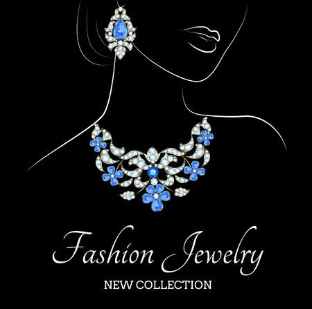 donne eleganti: Outline schizzo di donna elegante con gioielli di perle su sfondo nero
