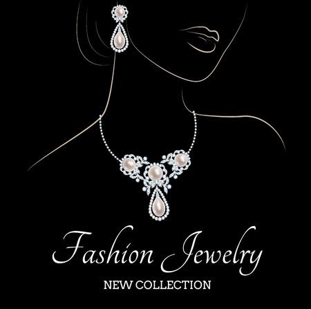 黒い背景に真珠の宝石類とエレガントな女性の外形スケッチ