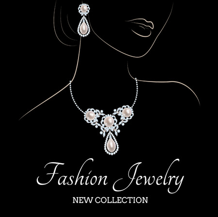 fashion jewellery: Outline sketch of elegant woman with pearl jewelry on black background