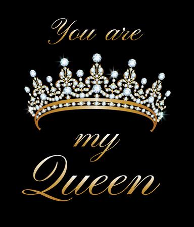 couronne royale: Yoa Etes Mon affiche Queen avec diad�me Illustration