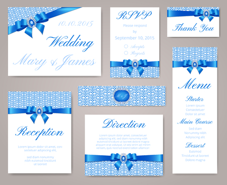 brooch: Wedding invitation template set with lace border, blue bow and sapphire brooch