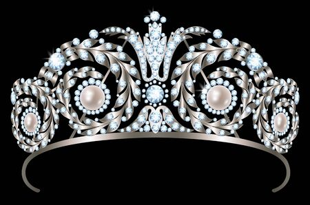Vintage silver diadem with diamonds and pearls