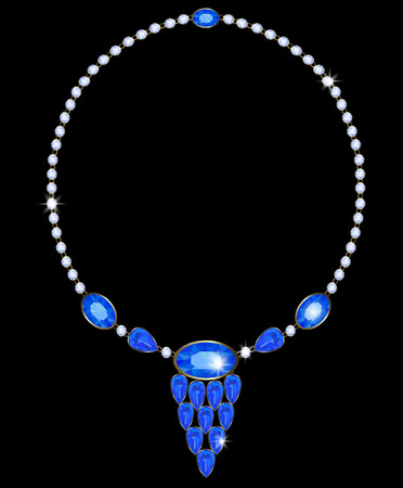 sapphires: Necklace with diamonds and sapphires, and oval-shaped teardrop Illustration