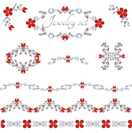 decoration elements: Jewelry decoration elements with rubits flowers and diamonds