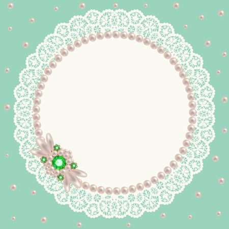 napkin: Lacy napkin decorated with pearls and pearl jewelry