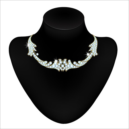 diamond necklace: Beautiful diamond necklace on black mannequin isolated on white