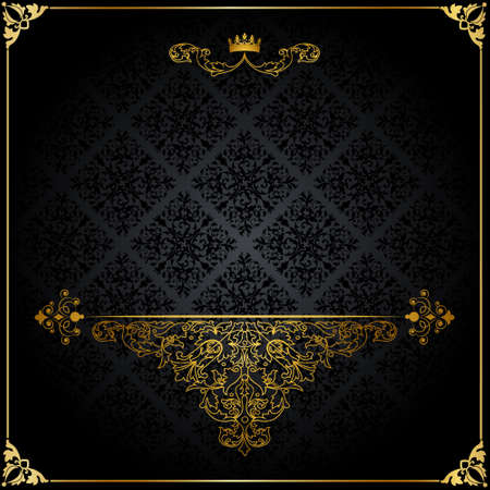 elegant backgrounds: Vintage pattern with a golden crown on a black background
