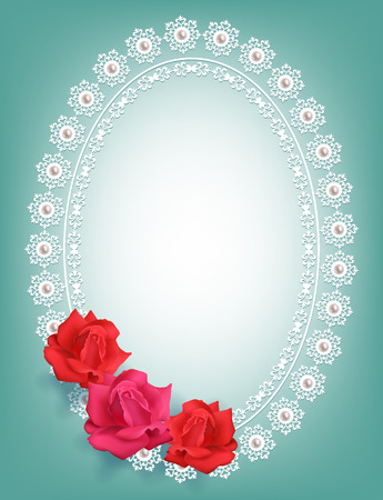 pearl background: The white frame decorated with pearls and red roses Illustration