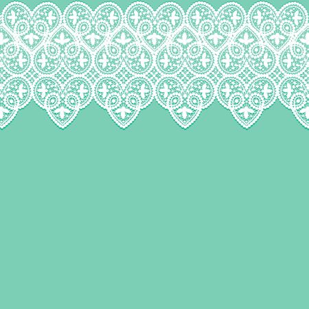 borders abstract: White lace pattern border on a green background