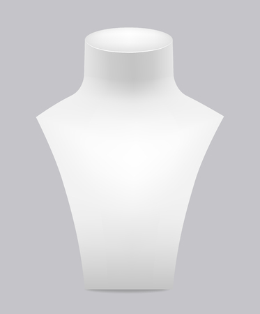 White dummy for jewelry on a gray background