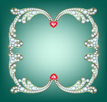 jewelry background: Elegant golden frame with diamonds with ruby hearts