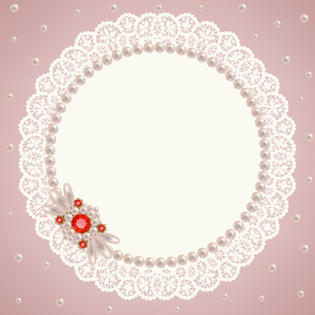 pink pearl: Lacy napkin decorated with pearls and pearl jewelry