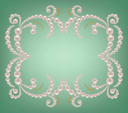 Ornate frame with pearls and gold on a green background