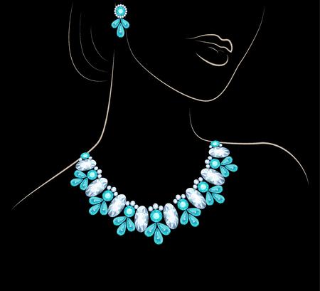 aretes: Ilustración de una mujer con un collar y los pendientes