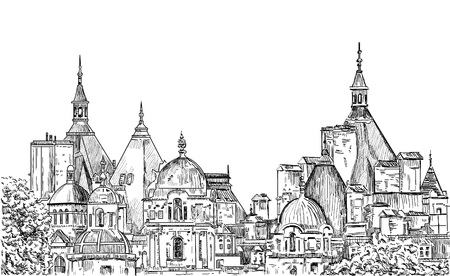 panoramas: Sketch panoramas central part of London. Vector