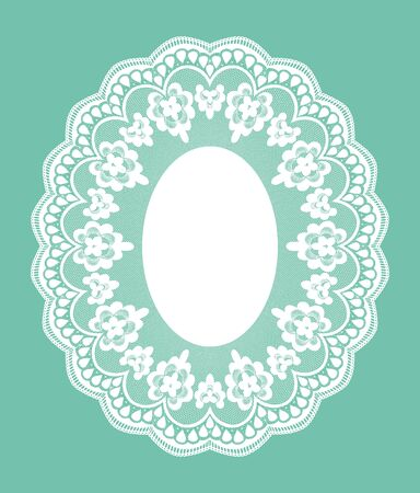 fabric design: White openwork lace doily on a turquoise background