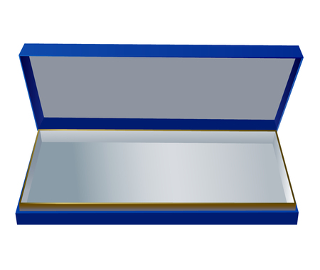 blue gift box: Open dark blue gift box with cover on white.
