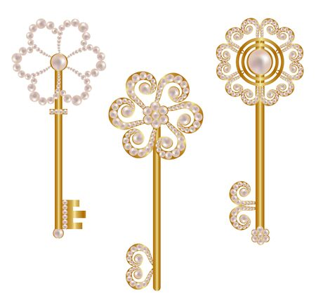 Set of gold keys decorated with pearls Ilustracja