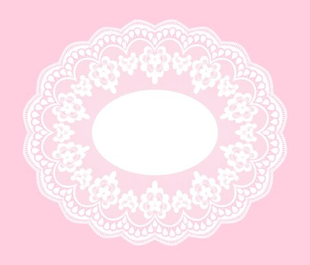 lace doily: White openwork lace doily on a pink background Illustration