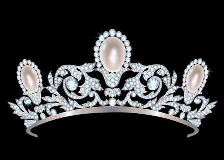 diamonds on black: Silver diadem with diamonds and pearls on black background Illustration