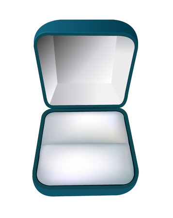 jewel box: An open gift box for rings on a white Illustration
