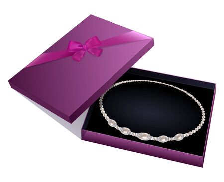 pearl necklace: Purple gift box with a pearl necklace on white