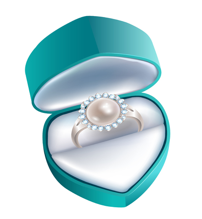 pearl background: Gift box with a ring with a pearl and diamonds