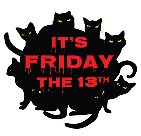 13th: Card for Friday 13 with black cats Illustration