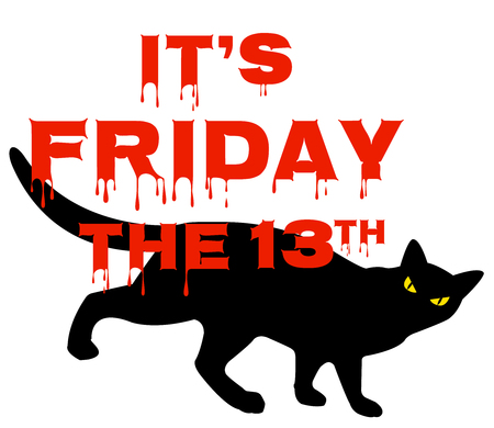 superstitious: Card for Friday 13 with black cat