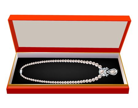 pearl necklace: Red gift box with a pearl necklace on white
