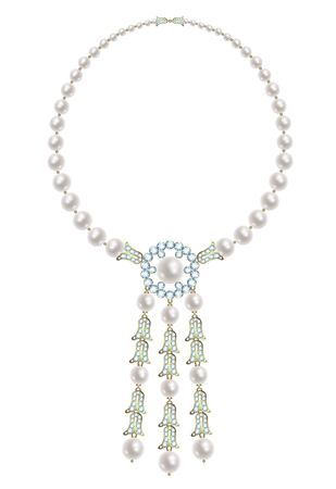 diamond necklace: Pearl necklace with three pendants with diamond