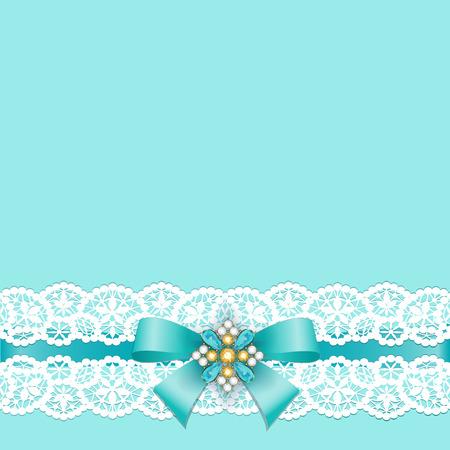 Bordo in pizzo bianco con un fiocco su uno sfondo turchese Archivio Fotografico - 48318196