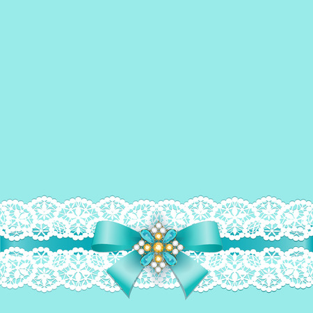 and turquoise: White lace border with a bow on a turquoise background