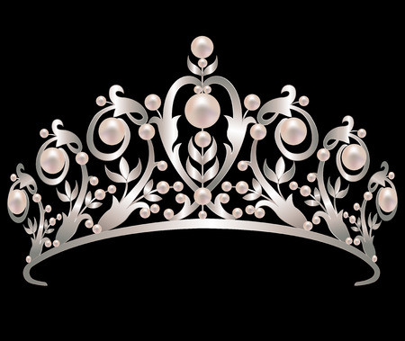 Silver vintage diadem adorned with pearls on a black background