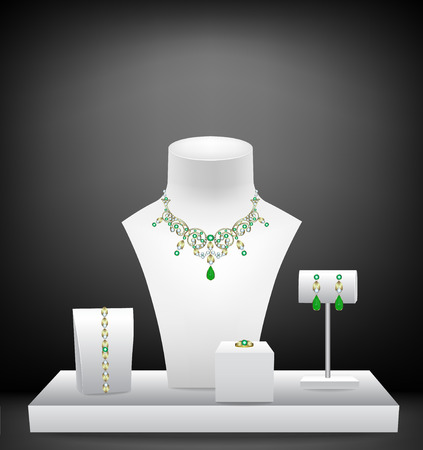 Necklace, bracelet, earrings and ring on mannequins Illustration
