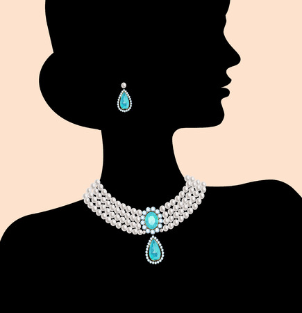 precious stone: Silhouette of a woman with a pearl necklace and earrings Illustration