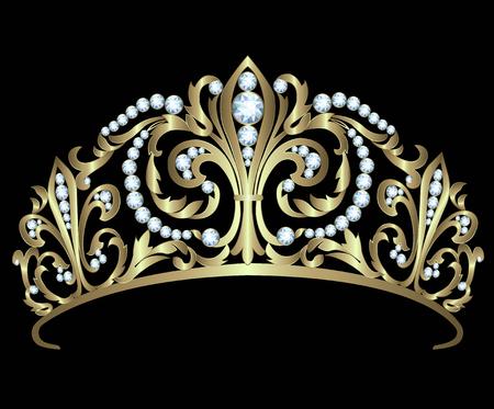 corona reina: Diadema de oro con diamantes sobre fondo negro Vectores