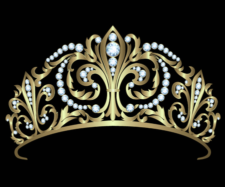 golden crown: Gold diadem with diamonds on black background