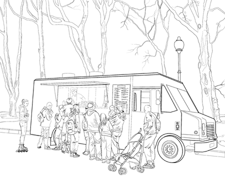 Sketch of people standing in line at fast food cafe mobile car
