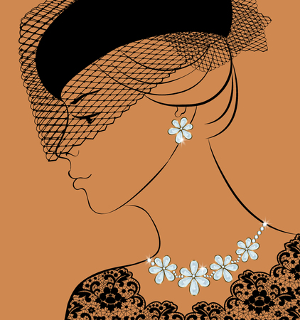 earrings: Fashion illustration of woman with diamond necklace and earrings Illustration