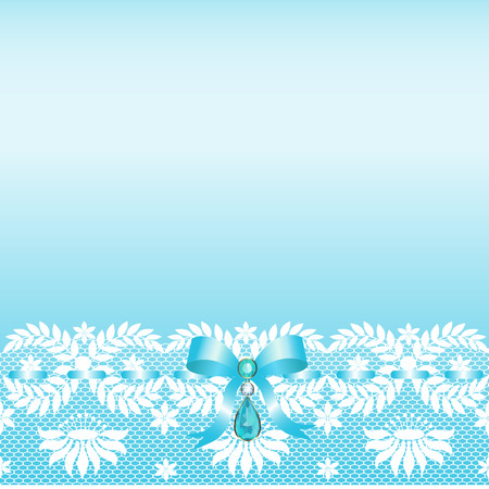 jewelery: White lace border with a bow and jewelery Illustration