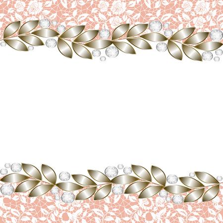 Fondo de oro de la vendimia, elegante frontera joyería para las invitaciones de boda, tarjetas de felicitación Foto de archivo - 48713475