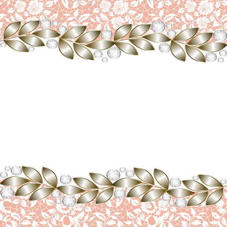 diamond jewellery: Vintage gold background, elegant jewelry border for wedding invitations, greetings cards Illustration