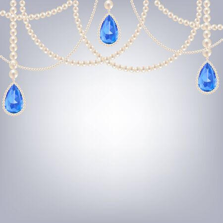 pendants: Pearl necklace jewelry with sapphire pendants on gray background Illustration